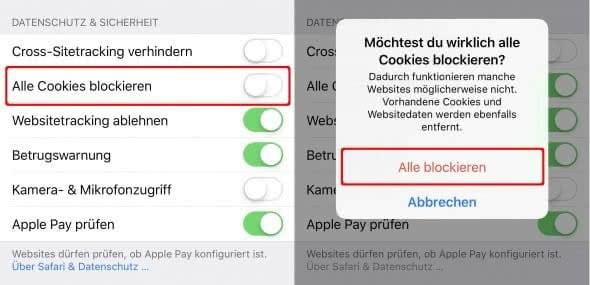 Alle Cookies blockieren in Safari auf dem iPhone