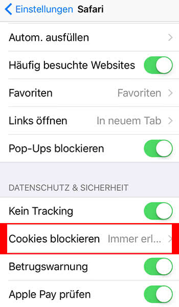 Cookies blockieren im Safari-Browser auf dem iPhone