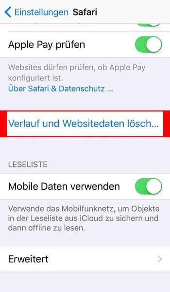 Verlauf und Websitedaten löschen im Safari-Browser auf dem iPhone