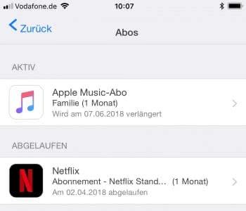 iTunes oder App Store Abos kündigen auf dem iPhone