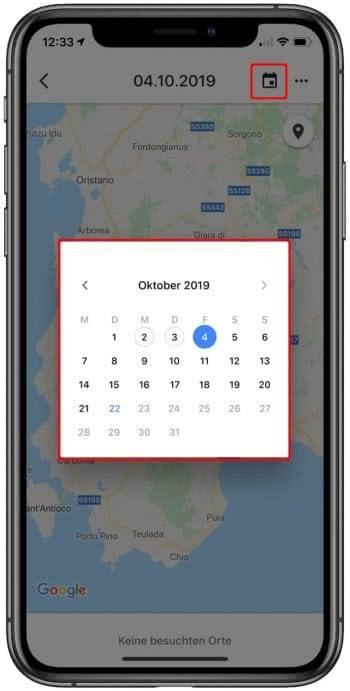 Datum für Standortverlauf auswählen