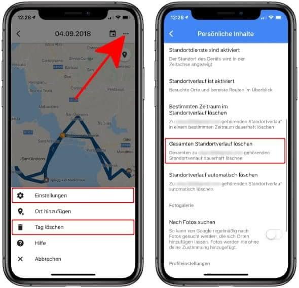 Google Maps Standortverlauf komplett löschen oder nur einen Tag entfernen