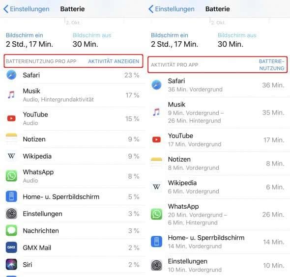 Apps mit hohem Akku-Verbrauch finden