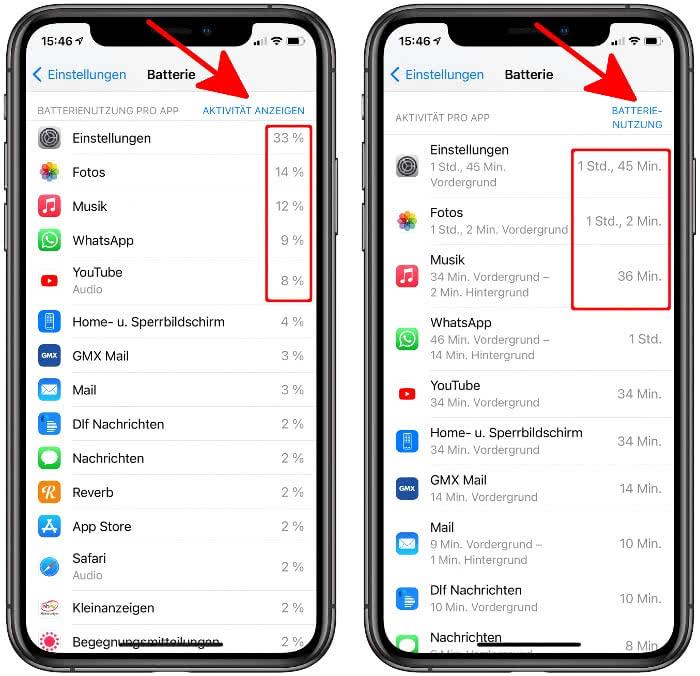 Batterienutzung pro App anzeigen