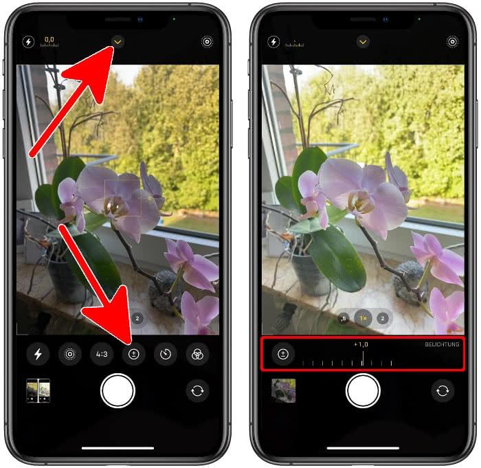 Belichtungskorrektursteuerung in der Kamera-App