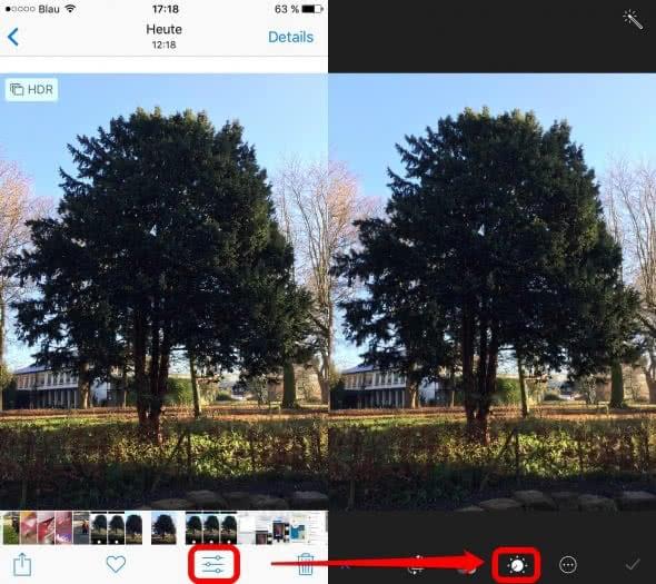 iPhone Fotos Helligkeit nachträglich einstellen
