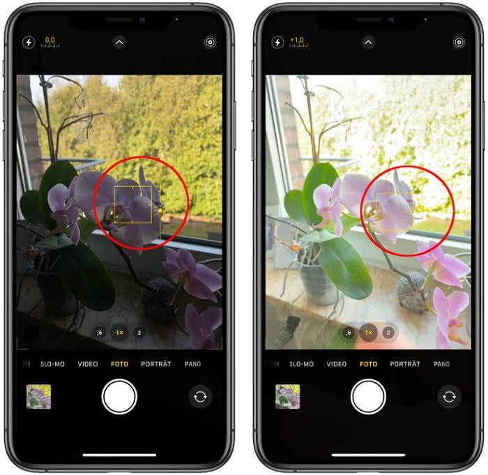 Belichtung einstellen in der Kamera-App
