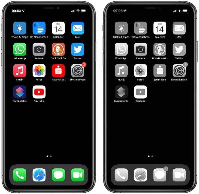 Schwarz-Weiß-Modus am Homescreen