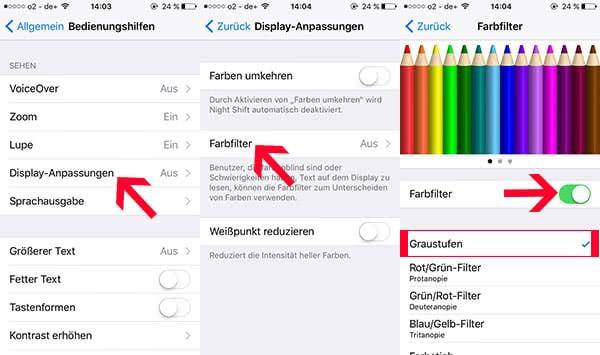 iPhone Schwarz-Weiß Modus einstellen