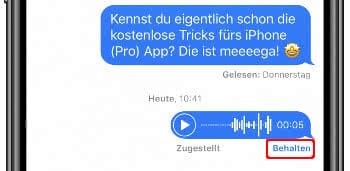 Sprachnachricht behalten auf dem iPhone