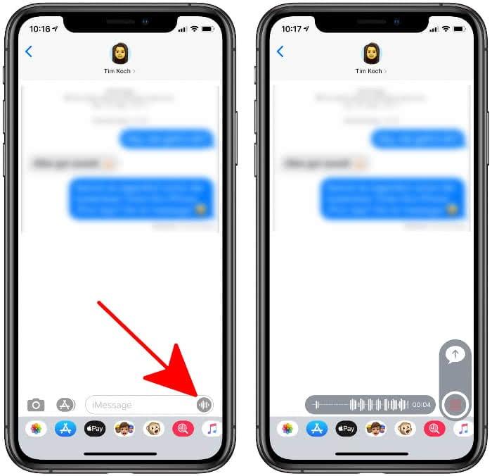 Sprachnachricht senden in iMessage auf dem iPhone