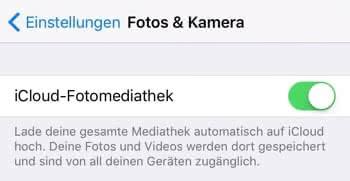 iCloud-Fotomediathek – Einstellungen überprüfen