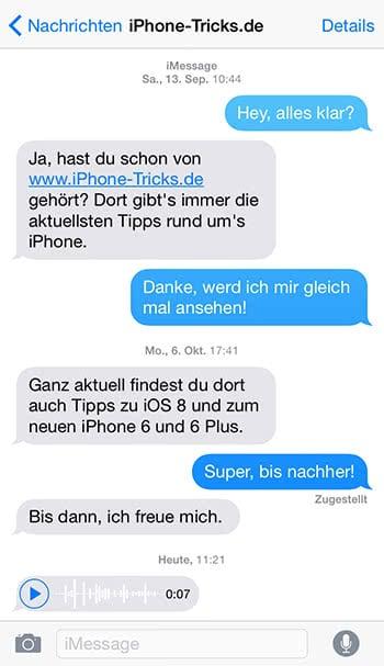 Audionachricht in iMessage auf dem iPhone