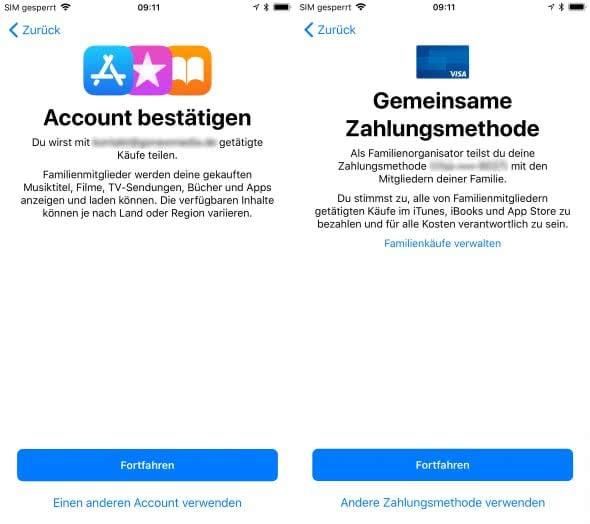 Familienfreigabe aktivieren und einrichten am iPhone