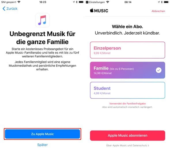 Apple Music Familienabo mit Familienfreigabe am iPhone teilen