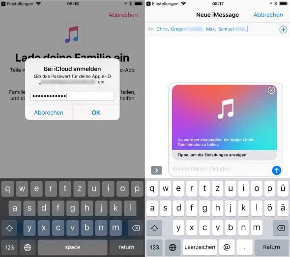 Apple Music Familienabo mit Familienfreigabe am iPhone teilen