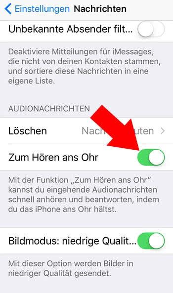 """""""Zum Hören ans Ohr""""-Funktion aktivieren auf dem iPhone"""