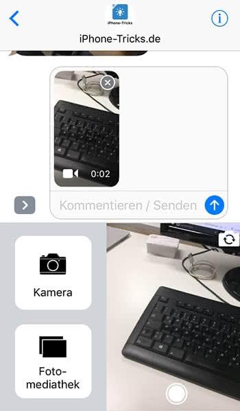 Videonachrichten versenden in iMessage auf dem iPhone