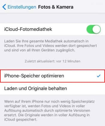 iPhone-Speicherplatz optimieren mit iCloud-Fotomediathek