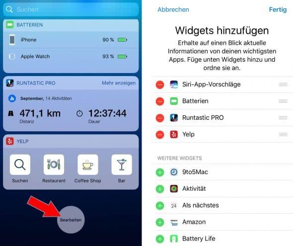 iPhone Widgets bearbeiten