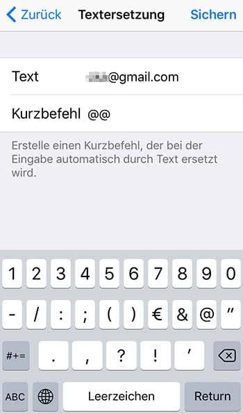 Kurzbefehle für E-Mail Adressen hinzufügen auf dem iPhone