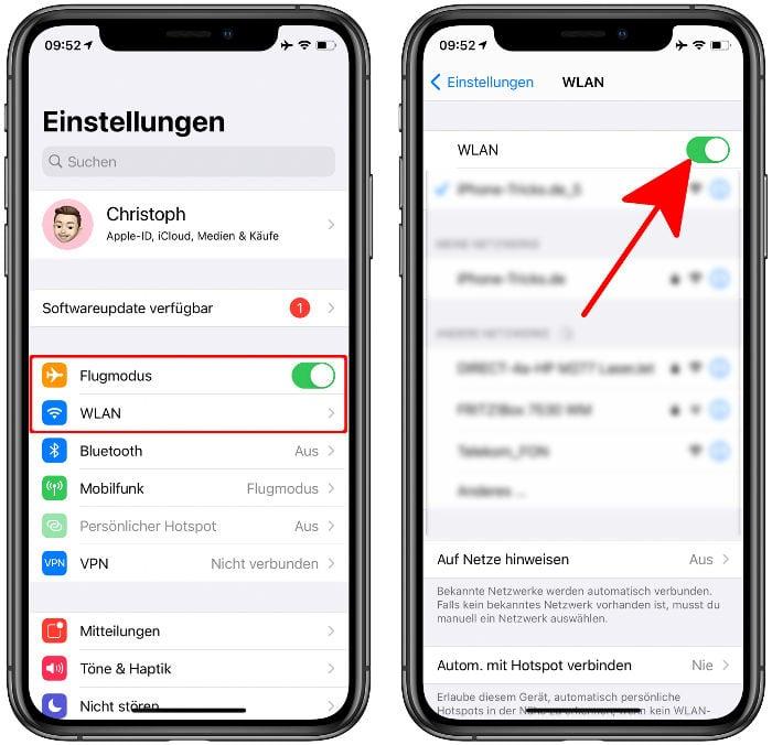 Flugmodus und WLAN aktivieren in der Einstellungen-App