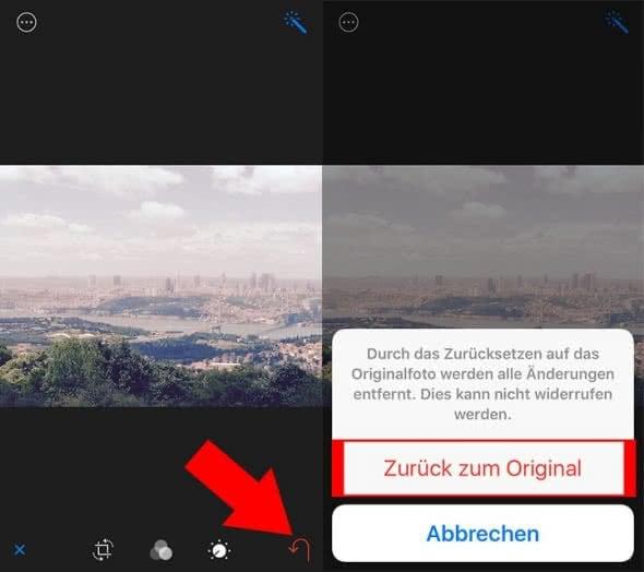 iPhone Fotos bearbeiten und mit Original vergleichen