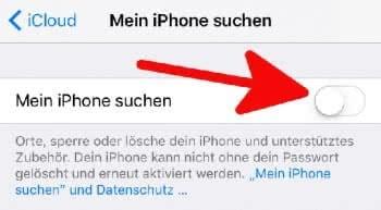 """""""Mein iPhone suchen"""" per Fingertipp auf den Schalter aktivieren"""