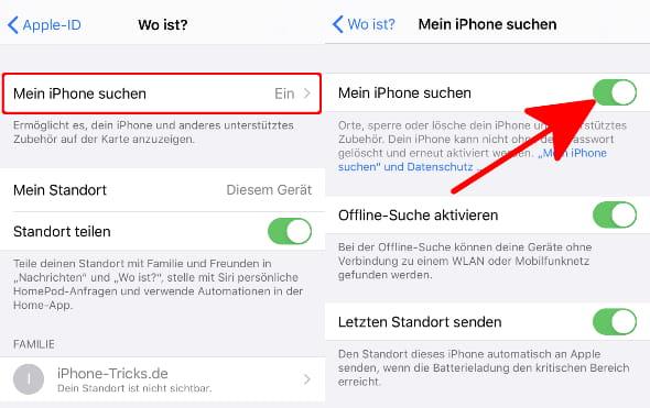 """In den Einstellungen unter Mein Name und """"Wo ist?"""" die Option """"Mein iPhone suchen"""" aktivieren"""