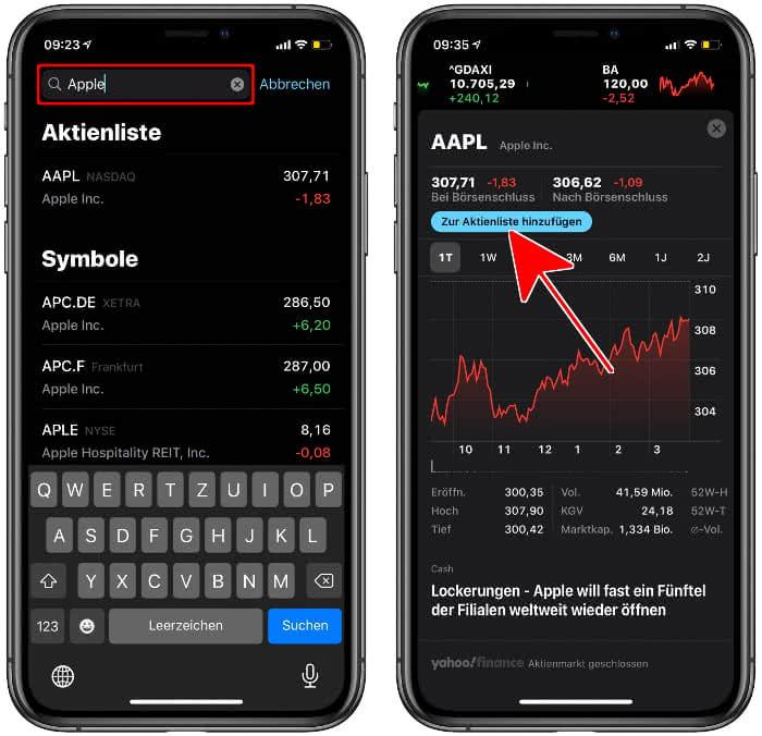 Aktie zur Aktienliste hinzufügen