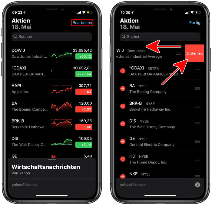 Aktien entfernen aus der Aktienliste