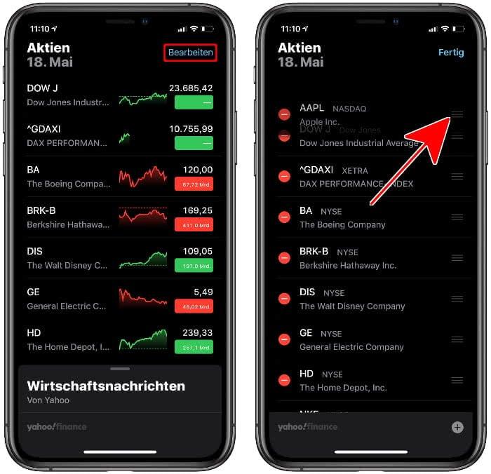 Aktien sortieren in der Aktien-App
