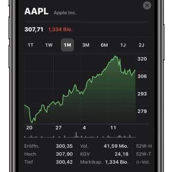 Chart anzeigen in der Aktien-App