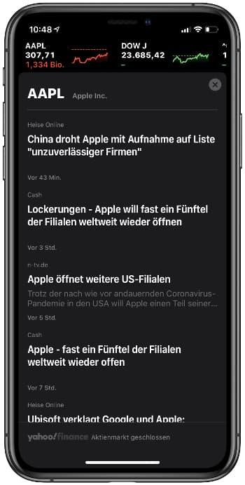 News anzeigen in der Aktien-App