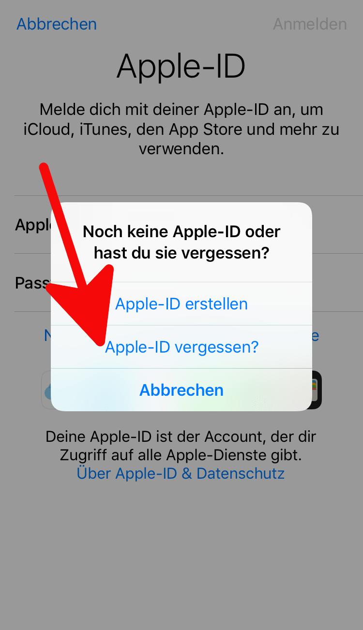 apple id vergessen id passwort oder kennwort vergessen. Black Bedroom Furniture Sets. Home Design Ideas