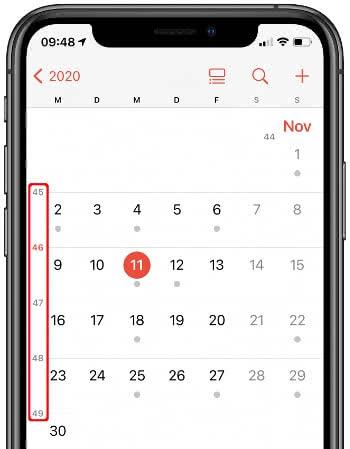 Kalenderwochen-Angabe in der Monatsansicht der Kalender-App