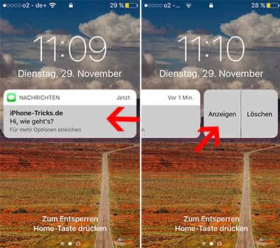 Interaktive Benachrichtigungen nutzen am iPhone