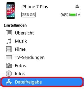 Dateifreigabe Rubrik in iTunes