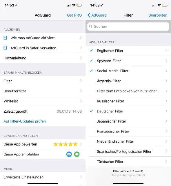 AdGuard Adblocker-App am iPhone einrichten.