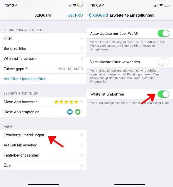 AdGuard Adblocker-App am iPhone nutzen.