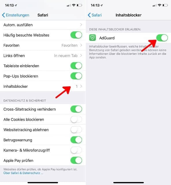 AdGuard Adblocker-App am iPhone aktivieren