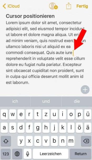 Cursor bei Texteingabe am iPhone positionieren