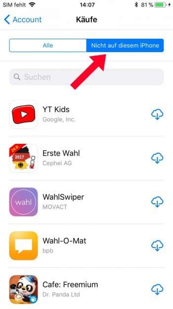 Gelöschte Apps wiederherstellen