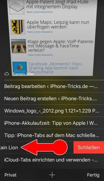 Safari-Tabs anderer iCloud-Geräte schließen