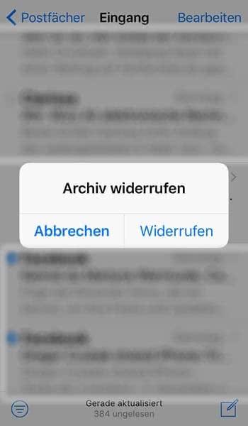 Gelöschte Mails sofort wiederherstellen in der iPhone Mail App