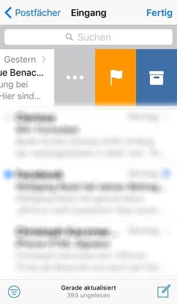 iPhone Mail App Menü