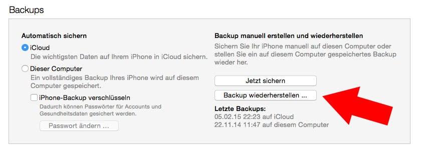 Gelöschte Nachrichten am iPhone wiederherstellen mit iTunes