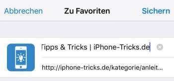 Favoriten in Safari schneller hinzufügen unter iOS 9