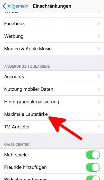 Maximale Musiklautstärke einstellen am iPhone