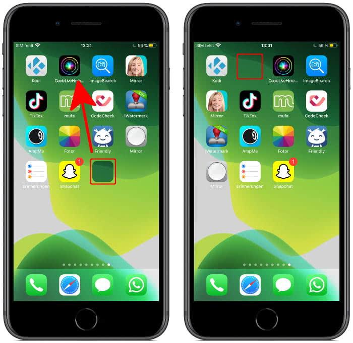 iEmpty Icon verschieben am Homescreen